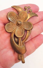Large Art Deco Flower Brooch, Transitional 1940s Vintage Jewelry