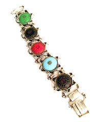 Art Glass Bracelet, Book Chain, Victorian Revival Vintage Jewelry