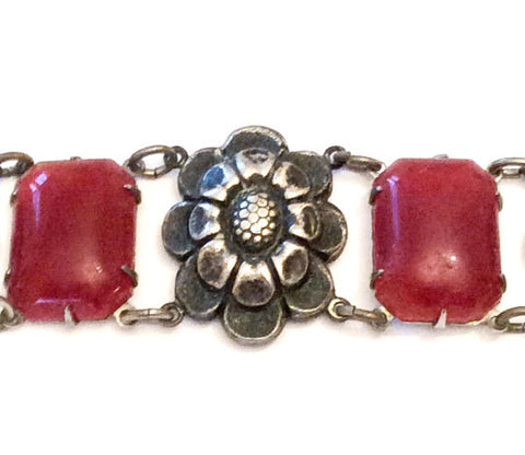 Carnelian Glass Bracelet, Art Deco Vintage Jewelry