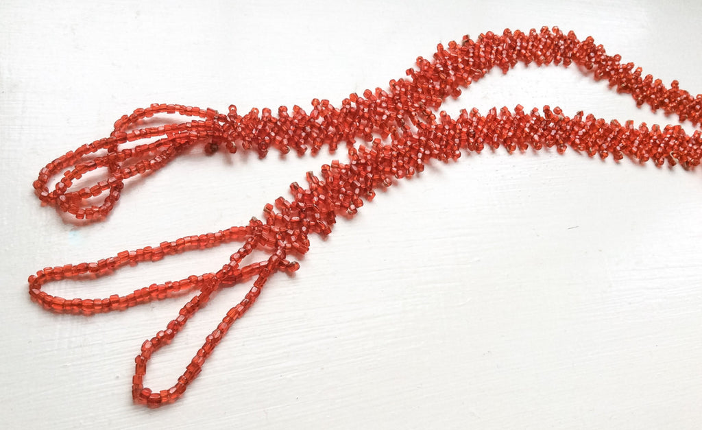 Flapper Necklace, Red Glass Bead, 1920s Art Deco, Vintage Jewelry