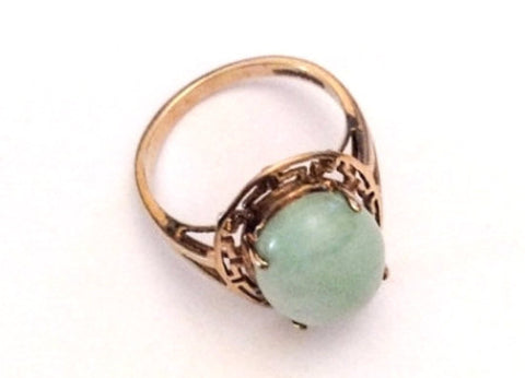 NOW SOLD Jade Ring, Apple Green, 10K Gold, 375 European Gold, Vintage Fine Jewelry