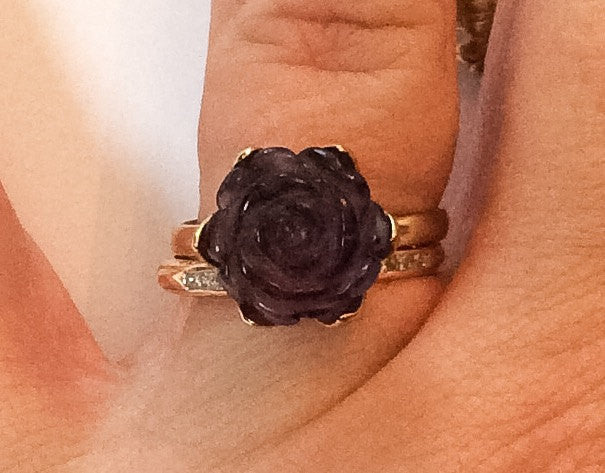 NOW SOLD Amethyst Rose Ring,10K Gold, Vintage Fine Jewelry