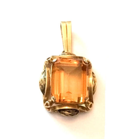 NOW SOLD Art Deco Pendant, Citrine 14K Gold, Vintage Fine Jewelry