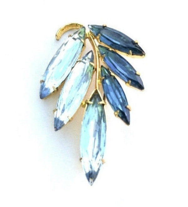Blue Glass Brooch, Two Tone Colour, Art Deco Transitional 1940s