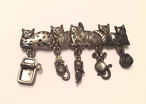 NOW SOLD Cats Brooch, 1960s Vintage Jewelry, Figural, Signed AJC