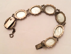 Cameo Silver Bracelet, Mother of Pearl, Art Deco Vintage