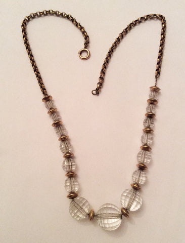 NOW SOLD Crystal Glass Necklace, Art Deco, Vintage Jewelry
