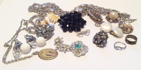 Jewelry Lot including Alice Caviness, Monet, Pearl, Celluloid, Baguette Rhinestone, Vintage Jewelry, Destash, Craft