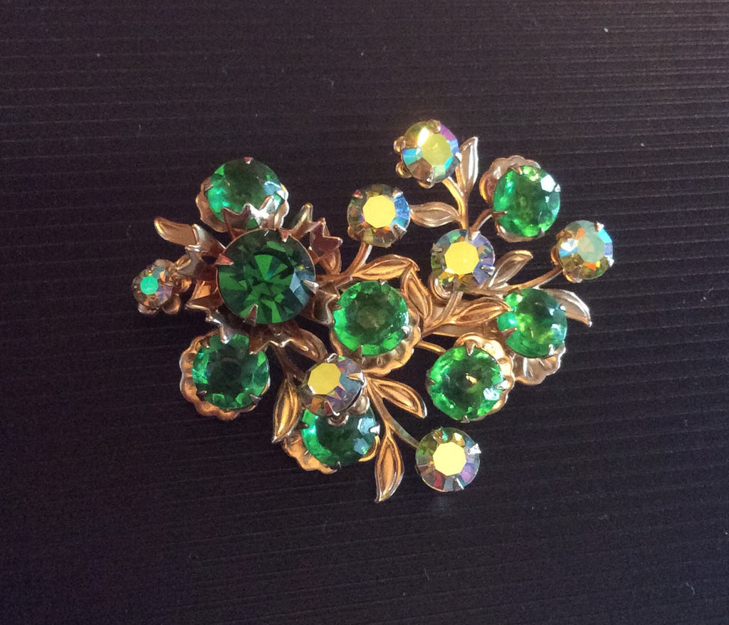 Green Rhinestone Pin or Brooch, 1960s Vintage Jewelry