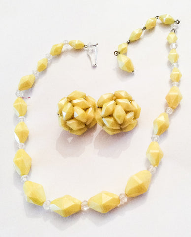 NOW SOLD Lucite Necklace with Cluster Earrings, Yellow Beads