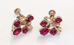 Red Rhinestone Screwback Earrings, 1940s Vintage Jewelry, Gift for Her