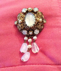 NOW SOLDOpaque Glass Pin, Pearl, Tassel, Rhinestone Brooch, Victorian Revival