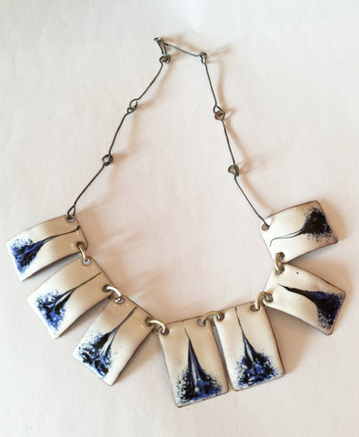 French Enamel Necklace, Blue and White, Art Deco Vintage Jewelry
