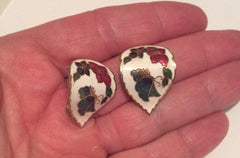 NOW SOLD Cloisonne Enamel Hoop Earrings, Butterfly, Flower, Clip Ons, 1960s Vintage Jewelry