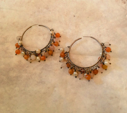 Carnelian Hoop Earrings, Pearl, Chalcedony, Dangley, Pierced, Sterling Silver