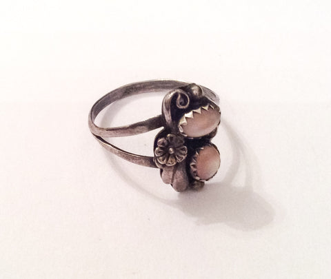 NOW SOLD Mother of Pearl Ring, Native American, Flower, Sterling Silver, Vintage Jewelry