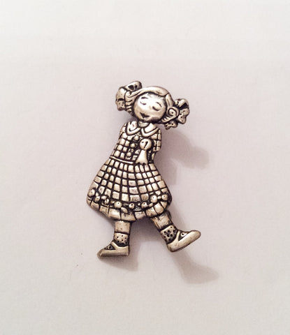 Little Girl Pin, Young Lady Brooch, Sterling Silver, Vintage Jewelry