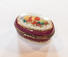 NOW SOLD Limoges Deep Pink Trinket Box, Hand Painted, French Vintage