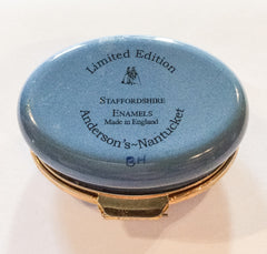 Blue Enamel Trinket Box, Cannes, French Seaside, Staffordshire Enamels