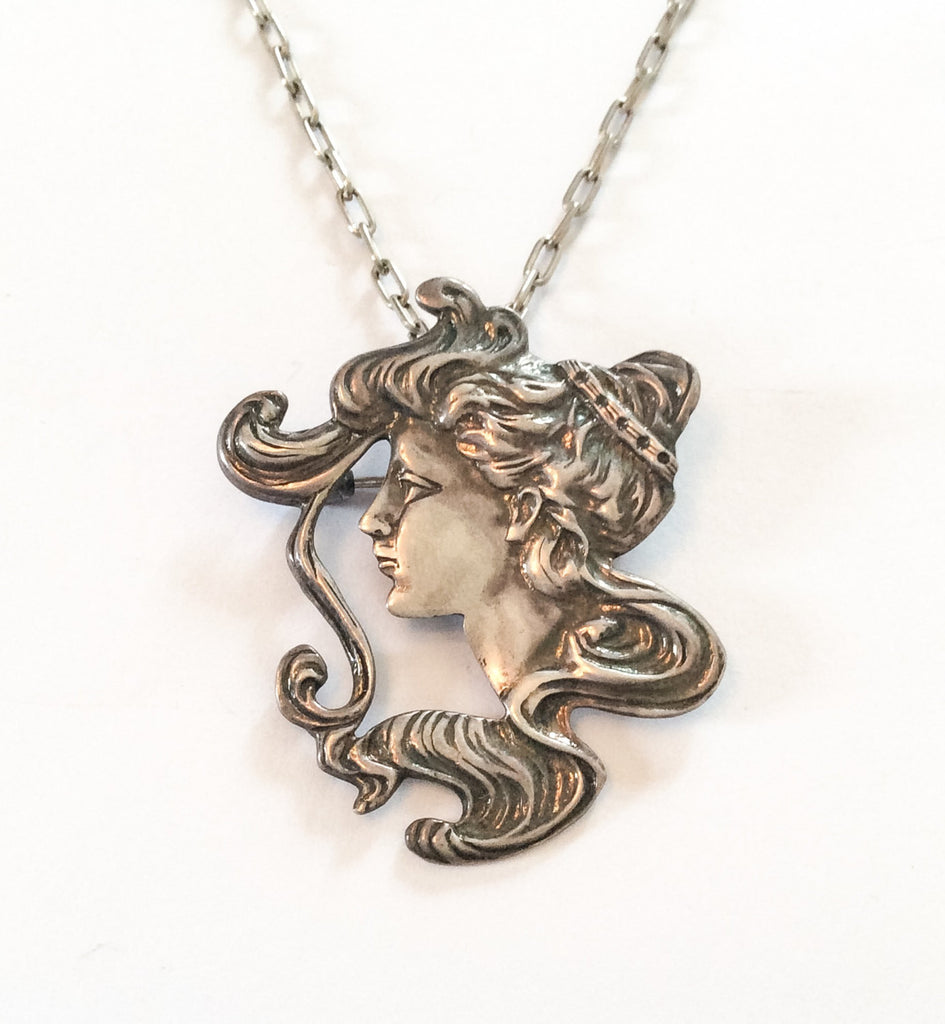 NOW SOLD Art Nouveau Lady Pendant, Sterling Silver LATEST LISTINGS