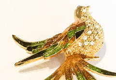 Feathered Bird Brooch, Green Rhinestone, Vintage Jewelry