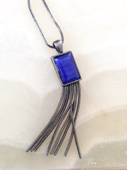 NOW SOLD Silver Art Deco Revival, Pendant, Blue Glass, 1970s