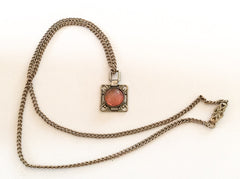 SOLD Opal Glass Pendant, Art Deco Revival, Silver, 1970s Vintage Jewelry