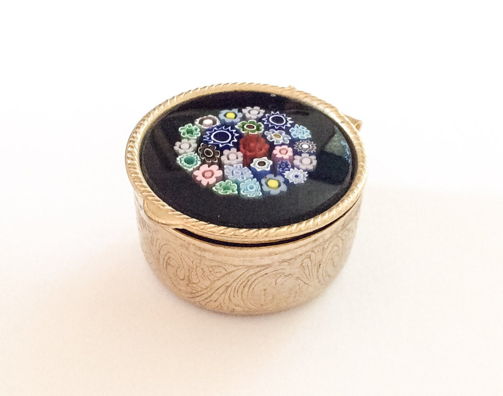 Miniature Trinket Box, Hand Painted, Floral, Engraved Silver, French Vintage