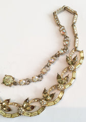 NOW SOLD Bogoff Rhinestone Necklace, 1940s Art Deco Vintage Jewelry