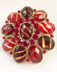 NOW SOLD Art Glass Pin or Brooch, Striped Red Cabochons