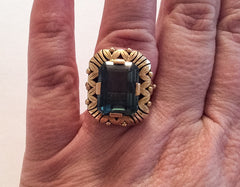 NOW SOLD Teal Green Spinel Ring, 14K Gold, 585 European, Fine Jewelry