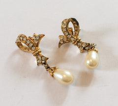 NOW SOLD Pearl Rhinestone Earrings, Vintage Jewelry, 1928 Jewelry Company