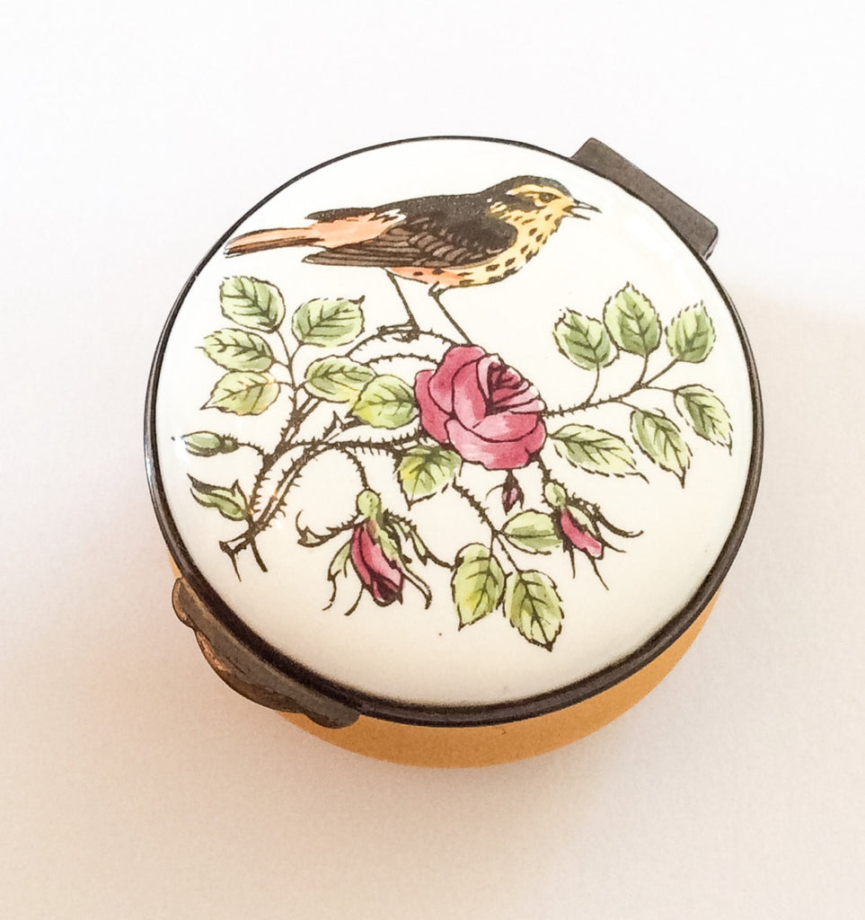 Porcelain Trinket Box, Deep Yellow, Hand Painted, Songbird, Rose, Crummles English Vintage