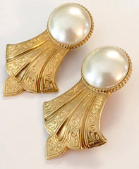 NOW SOLD Baroque Pearl Earrings, Ben Amun Designer, Gold Tone Vintage Jewelry, Givenchy Style