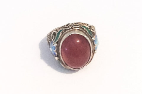 NOW SOLD Chinese Carnelian Ring with Enamel to the Sides, Sterling Silver, Vintage Jewelry