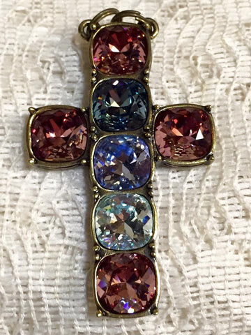 NOW SOLD Art Deco Revival, Crystal Cross Pendant, Designer Heidi Daus