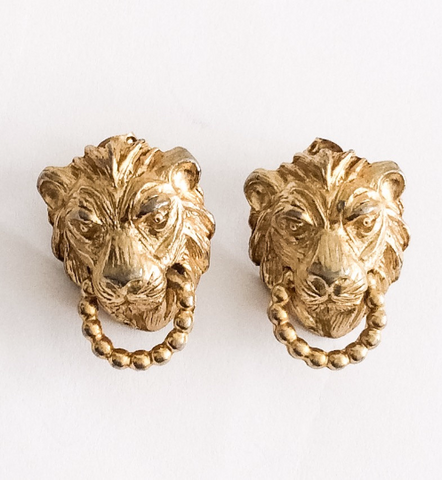 Lions, Door Knocker Earrings, Figural, Pierced, Medieval, Designer, Art Nouveau Revival, Vintage Jewelry