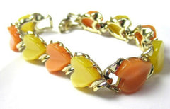 NOW SOLD Yellow Peach Lucite Heart Bracelet 1950s Vintage Jewelry