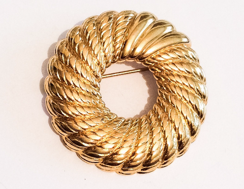 NOW SOLD Monet Gold Tone Circle Brooch, Wreath, 1960s Vintage Jewelry