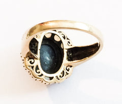 Opal Ring, Blue Sapphire Cabochon, 9K Gold, Vintage Fine Jewelry