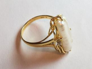 SOLD Freshwater Pearl Ring, Irridescent, 14 Gold, Japanese, Vintage Fine Jewelry
