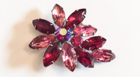 Pink with Red Czech Glass Brooch, Flower Design, Juliana, Vintage Jewelry