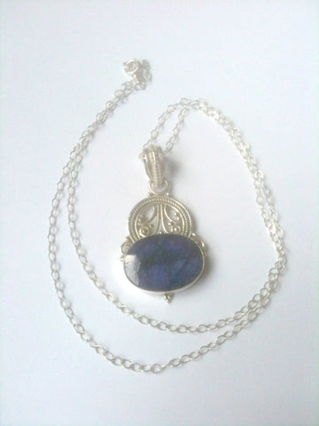 SOLD Sapphire Pendant Necklace 925 Silver Vintage Jewelry