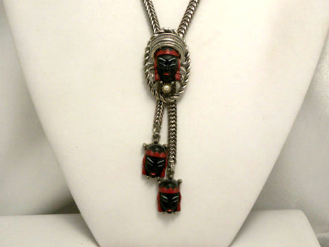 NOW SOLD Selro Selini Asian Princess Necklace, Silver Tone, 1950s Vintage Jewelry