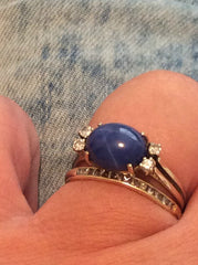 NOW SOLD Star Sapphire Cabochon Ring, Diamond, 14K Gold, Vintage Fine Jewelry