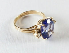Tanzanite Diamond Ring,14K Gold, Engagement, Wedding Vintage Fine Jewelry
