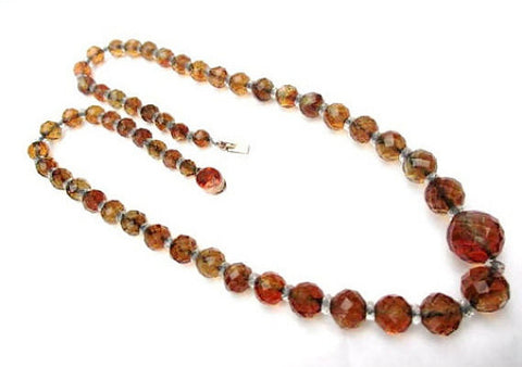 Topaz Necklace, Crystal Glass Beads, 1950s Retro Vintage Jewelry