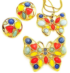 Trifari Jewelry Set Lucite Butterfly Pendant Earrings and Brooch