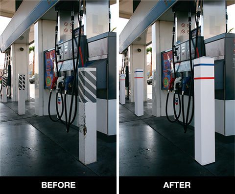 Gas Station Square Post Covers Before and After