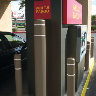 Wells Fargo Dark Beige Post Covers with White Reflective Bands